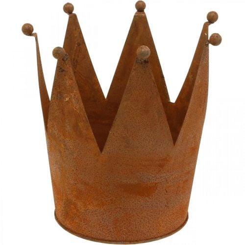 Metal crown, garden decoration, patina Ø17.5cm H17.5cm