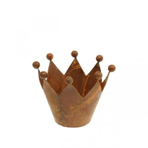 Decorative wind light, metal crown, tealight holder stainless steel H6.5cm Ø4cm