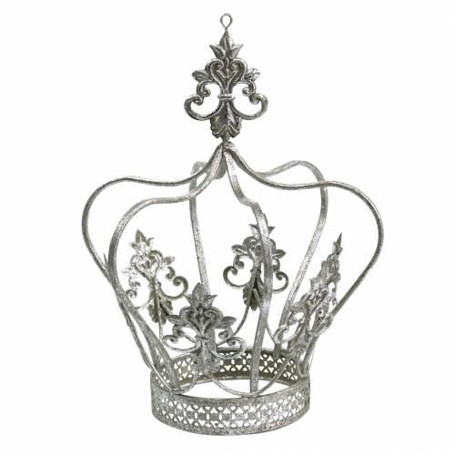 Decorative crown silver metal Ø17.3cm H22.5cm