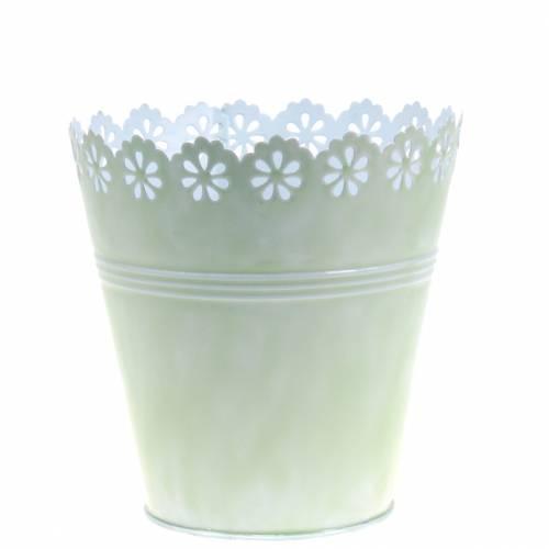 Flower pot flower ornament light green Ø12,5cm H13,5cm
