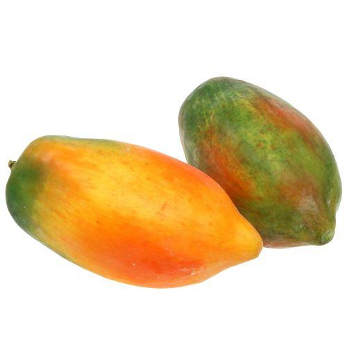 Artificial papaya 13cm and 14cm yellow, green 2pcs