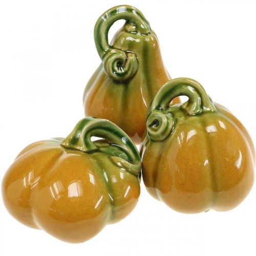 Decorative pumpkin ceramic orange, green assorted H7.5 / 10 / 11cm 3pcs