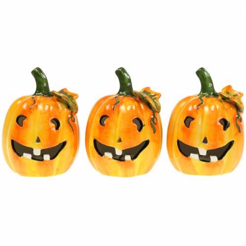 Pumpkin with LED Ø7,5cm H10cm 3pcs