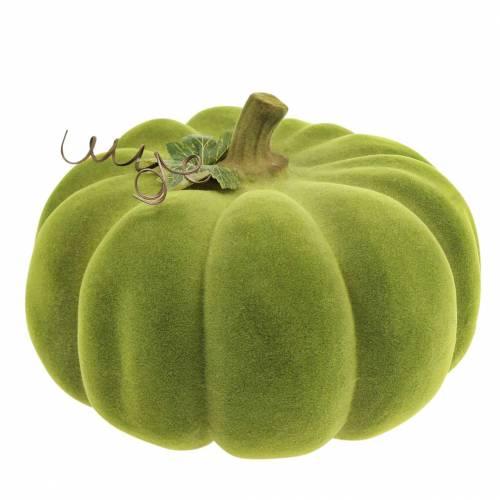 Decorative pumpkin flocked moss green 32cm