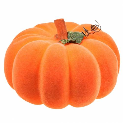 Decorative pumpkin flocked orange 32cm