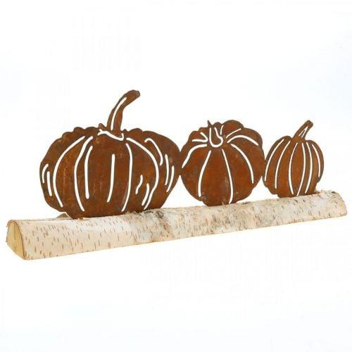 Pumpkins rust and bark metal decoration on birch wood 20 × 5cm H9cm