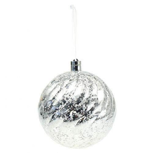 Ball plastic silver with lighting Ø20cm