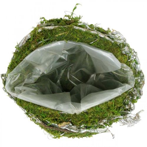 Grave decoration ball vines moss green, white washed Ø20cm