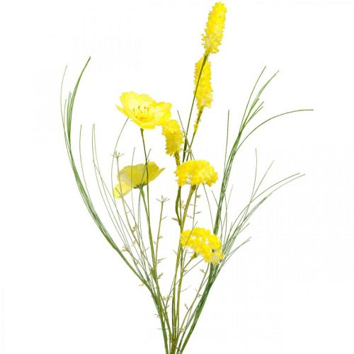 Artificial bouquet yellow, poppy and shrub ranunculus in a bunch, silk flowers, spring decoration L45cm