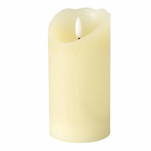 LED real wax candle ivory, warm white flame effect timer, battery operated Ø7.5 H15cm