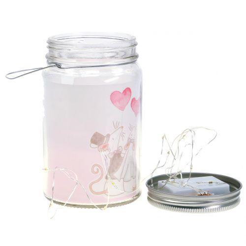 LED lantern glass bridal couple mice Ø8cm H14cm