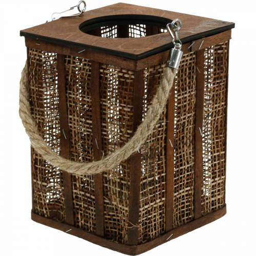 Lantern with braided pattern, candle decoration to hang, wooden lantern H41cm