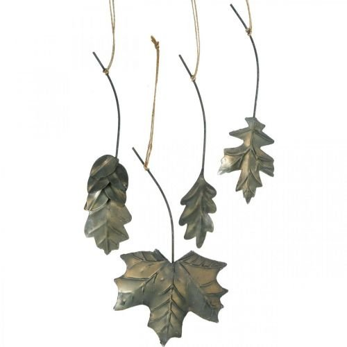Leaves metal to hang antique gray autumn leaves 7.5-10cm 4pcs