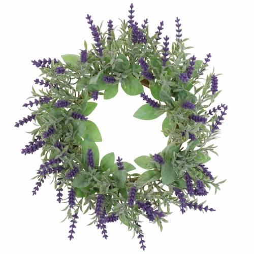 Flocked lavender wreath Ø25cm