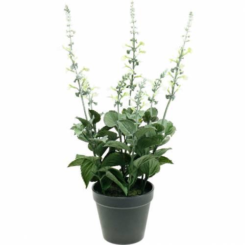 Artificial lavender pot, decorative lavender, silk flower in white