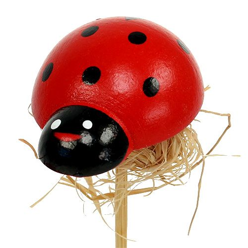 Ladybird on wooden stick with sisal decor 3.5cm 24pcs