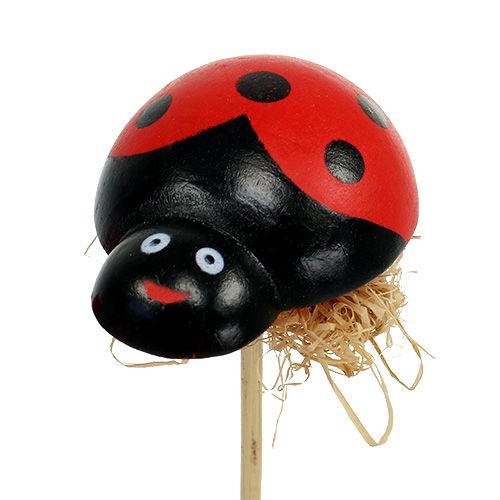 Ladybug on wooden stick with sisal decor 5cm 24pcs