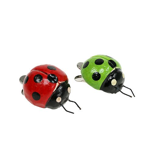 Ladybug with clip red, green 3,5cm 6pcs
