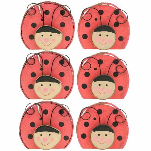 Ladybug red wood Ø7cm 6pcs