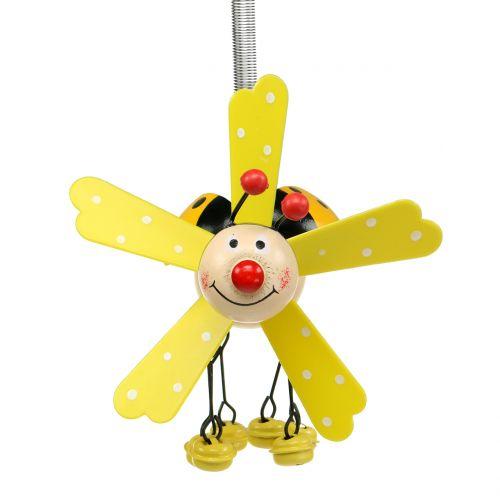 Wind chimes ladybug wood yellow 12cm