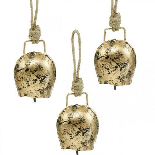 Bells to hang, mini cowbells, country house, metal bells golden, antique look 7 × 5cm 12pcs