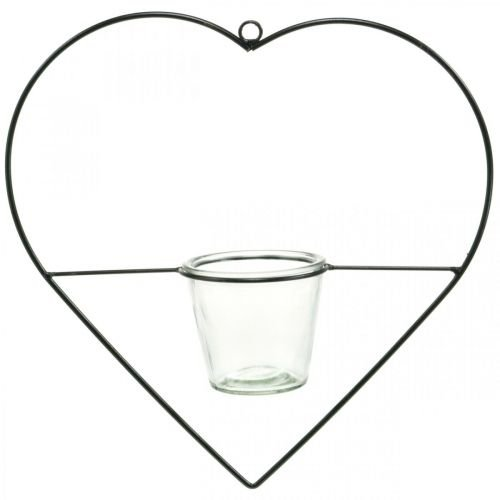 Lantern heart metal 38cm tealight holder for hanging with glass