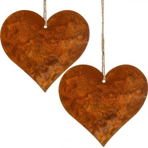 Decorative hearts made of metal, autumn decorations, decorative pendants, stainless steel 14 × 15cm 6pcs