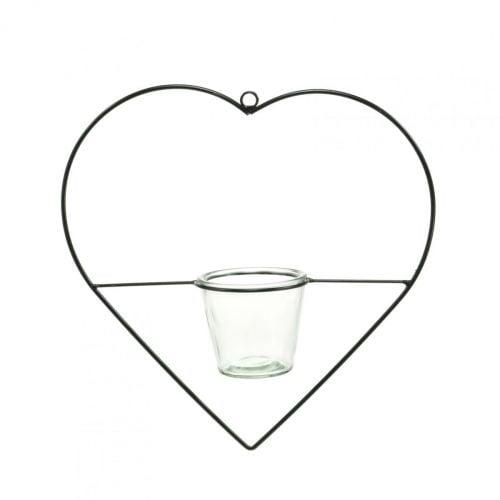 Wind light heart metal 28cm tealight holder for hanging glass 9cm