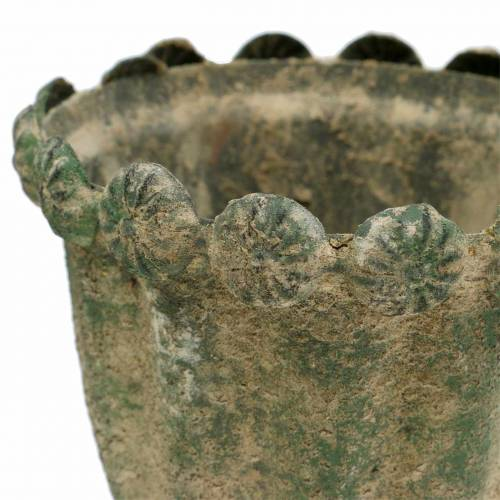 Decorative cup antique look metal moss green Ø9cm H14.5cm