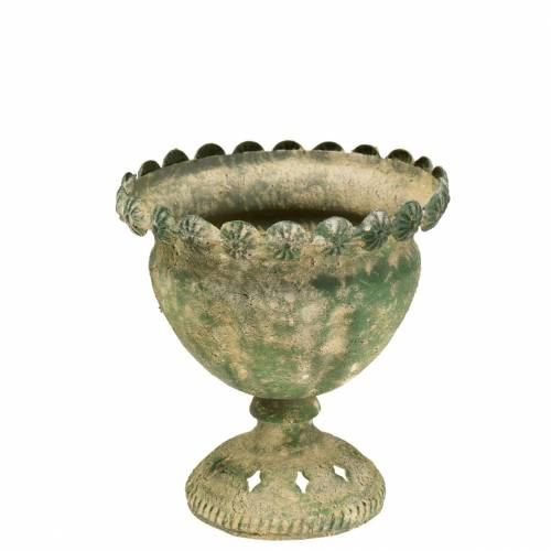 Decorative cup antique look metal moss green Ø13cm H14.5cm