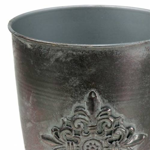 Deco metal cup goblet with ornament silver gray Ø16.5cm H31cm