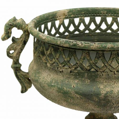Decorative cup antique look metal moss green Ø19cm H35,5cm