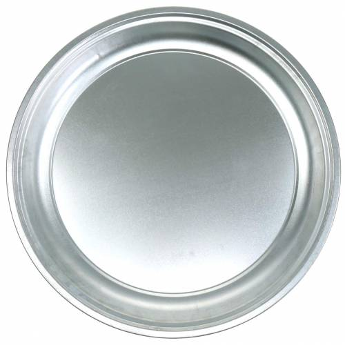 Metal plate basic silver shiny Ø45.5cm H4cm
