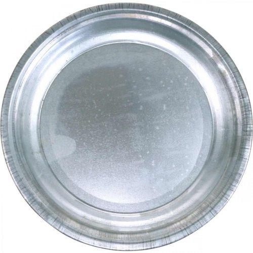 Decorative plate, arrangement underlay, metal plate silver, table decoration Ø26cm