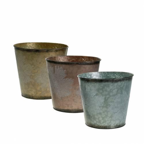 Decorative plant pot with leaves zinc metallic gray, orange, brown Ø17cm H14.5cm 3pcs