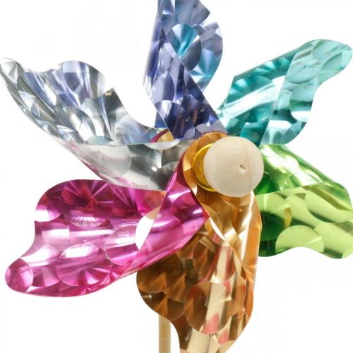 Mini-pinwheel, party decoration, windmill on the rod colorful, decoration for the garden, flower plug Ø8.5cm 12pcs
