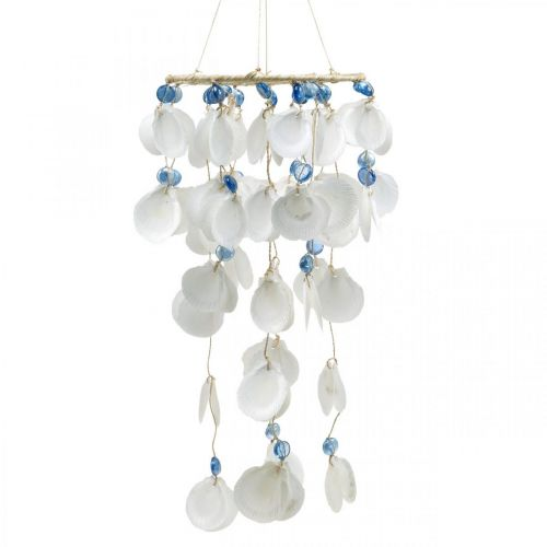 Mobile seashells wind chimes maritime decoration for hanging white, blue 46cm