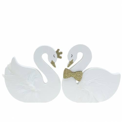 Decorative swans wedding wood white gold 12x13cm 2pcs