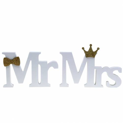 Decorative letters Mr & Mrs wood white, gold assorted H11 / 13, cm set of 4