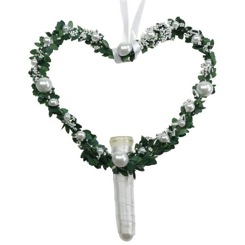 Myrtle heart with ribbon, pearls, tubes white 4pcs