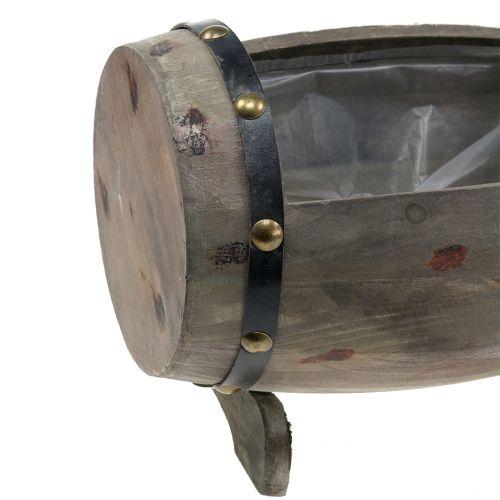 Wooden barrel for planting nature set of 2 22cm/33cm