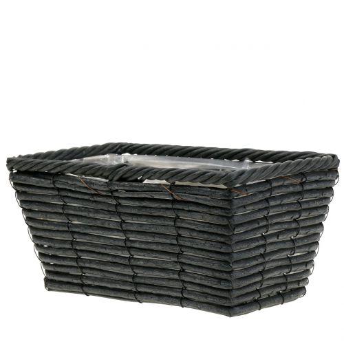 Planter rattan-look anthracite 26cm x 14,5cm H12cm