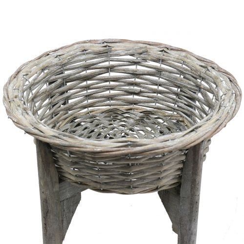 Basket bowl with wooden stand gray, white washed Ø40cm