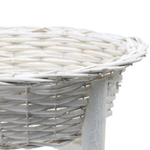 Basket bowl with wooden stand White Ø33cm H9,5cm