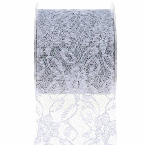 Lace ribbon deco tape gray 70mm 15m
