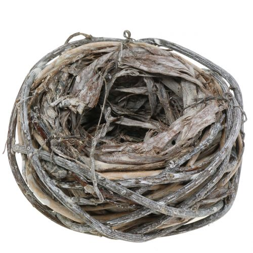 Easter nest of twigs Natural color, white washed Ø13cm 3pcs