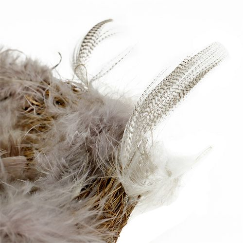 Nest with feathers Natural colors 15cm 4pcs