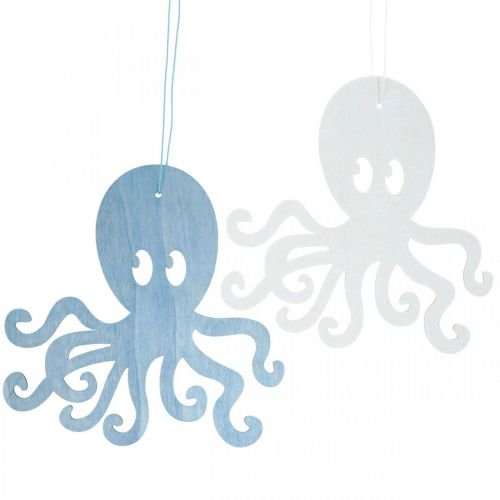 Octopus to hang blue, white wooden octopus Maritime summer decoration 8pcs