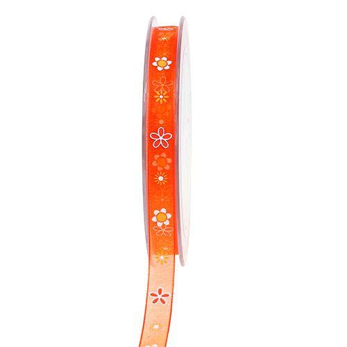 Organza ribbon orange with pattern 10mm 20