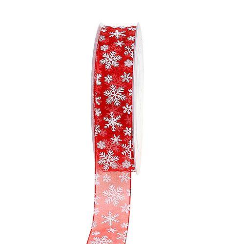 Organza ribbon Christmas Red 25mm 20m
